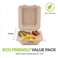 Bagasse Clamshell Takeout Containers, Biodegradable Eco Friendly Take Out to Go Food Containers with Lids Microwave and Freezer Safe (8x8) - Eco Trade Company