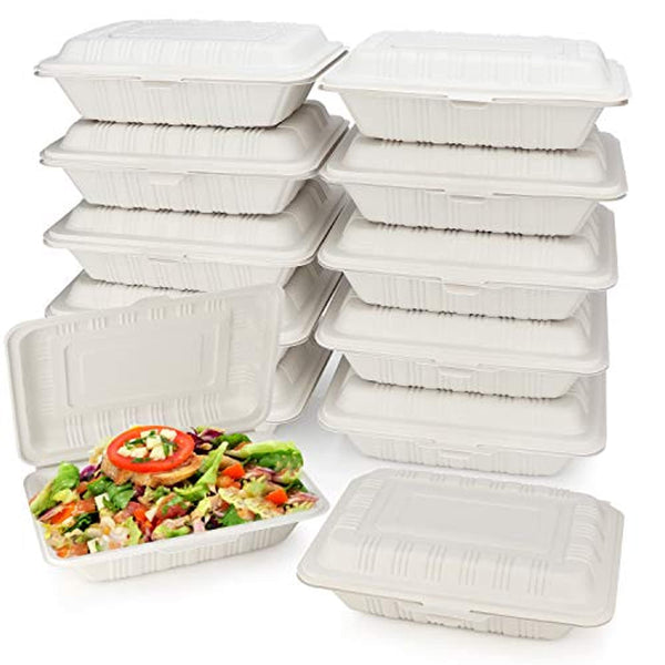 "125 Count Eco Friendly Take Out Food Containers [7"" x 5"",1-Comp] - Non Soggy, Leak Proof, Heavy-Duty Quality, To Go Containers, Microwave Safe - Eco Trade Company"