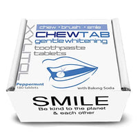 Gentle Whitening Toothpaste Tablets with Baking Soda, Peppermint, Zero Waste Refillable Box - Eco Trade Company