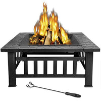 32 inch Outdoor Square Metal Firepit Backyard Patio Garden Stove Wood Burning BBQ Fire Pit with Rain Cover - Eco Trade Company