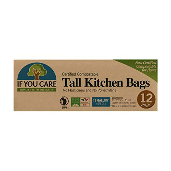 100% Certified Compostable Tall Kitchen Bags Made from Potato Starch, 13 gal, 12 Count - Eco Trade Company