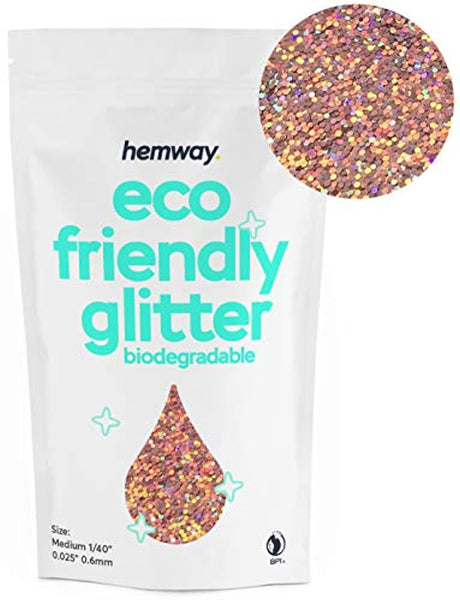 "Eco Friendly Biodegradable Glitter 100g / 3.5oz Safe Vegan for Face, Eyeshadow, Body, Hair, Nail and Makeup, 1/40"" 0.025"" 0.6mm, Rose Gold Holographic - Eco Trade Company"
