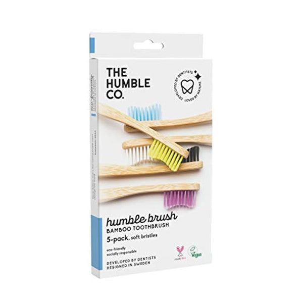 Bamboo Toothbrush (5pk) - Wooden, Sustainable, Natural Toothbrushes - Vegan, Eco-Friendly and Biodegradable with BPA Free Bristles - Eco Trade Company