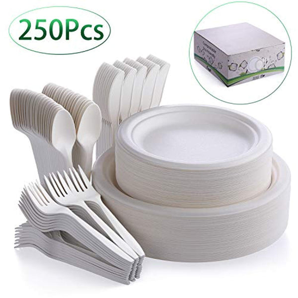 250Pcs Disposable Dinnerware Set, Compostable Sugarcane Cutlery Eco-Friendly - Eco Trade Company