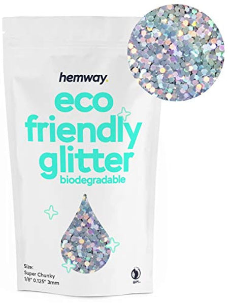 "Eco Friendly Biodegradable Glitter 100g / 3.5oz Safe Vegan for Face, Eyeshadow, Body, Hair, Nail and Makeup, 1/8"" 0.125"" 3mm - Silver Holographic - Eco Trade Company"