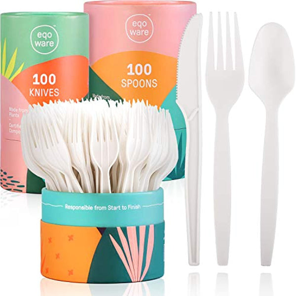 "Certified Compostable Cutlery Made from Plants, 300 Pack, 7"" Large - Eco Trade Company"