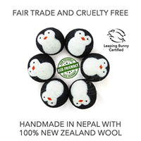 Friendsheep Wool Dryer Balls, Organic Fair Trade Reusable Fabric Softener, Extra Large, 6 Pack, Black Penguin - Eco Trade Company