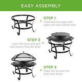 22-inch Outdoor Patio Steel Fire Pit Bowl BBQ Grill for Backyard, Camping, Picnic, Bonfire, Garden w/Spark Screen Cover - Eco Trade Company