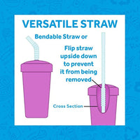 2pk Straw Cups with Reversible Straws Plus 2 Bonus Replacement Straws | Eco Friendly Recycled HDPE Cup Base, Made in USA - Eco Trade Company