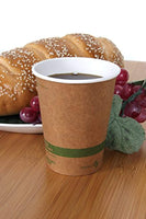 100% Biodegradable, 100% Compostable Paper PLA-Lined 12 Ounce Kraft Coffee Hot Cup and Lid Combo, 50 Pack - Eco Trade Company