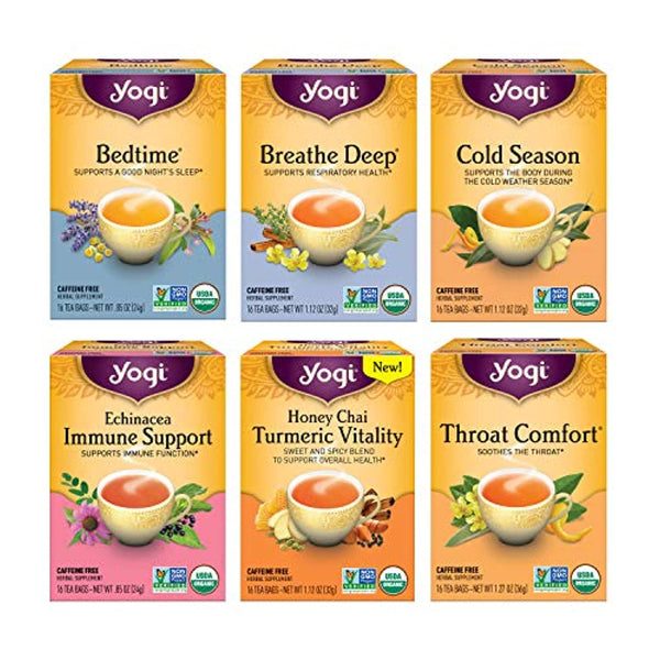 Yogi Tea - Get Well Variety Pack Sampler (6 Pack) - 6 Teas for Cold and Flu Symptom Support - 96 Tea Bags - Eco Trade Company