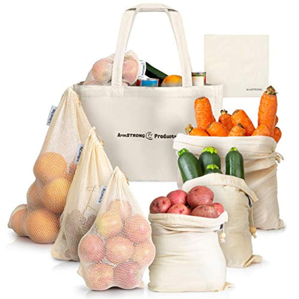 ArmStrong Reusable Produce Bags - Eco-Friendly Carrying Sack - Eco Trade Company