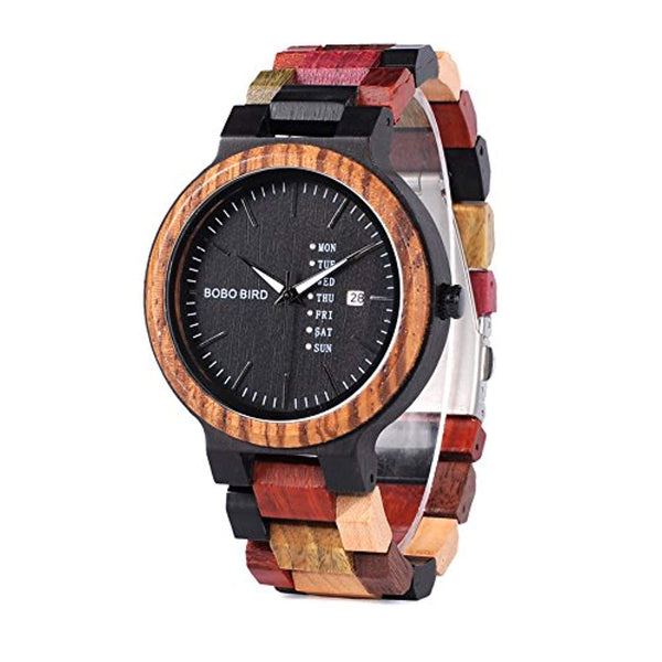 Men's Colorful Wooden Watch, Week & Date Display Quartz Watches Handmade Casual Wood Wrist Watch - Eco Trade Company