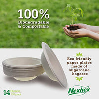 14 oz. Paper Plates Bowls [100-Pack] Brown Compostable Disposable Biodegradable Premium Natural Eco-Friendly - Eco Trade Company