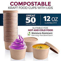 50 Pack, 12 oz Kraft Eco-friendly Compostable Paper Food Cup with Vented Lid, Hot or Cold Dish To Go Packaging, Ramen Soup Stews Salad Container - Eco Trade Company