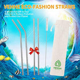 "Reusable Metal Drinking Straws FDA BPA - 10.5"" Ultra Long 4+1 - Eco Trade Company"