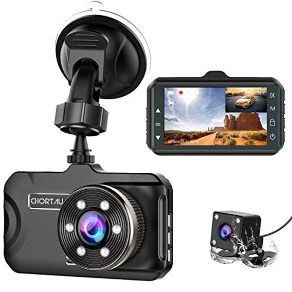 Dash Cam Front and Rear 3 inch Dashboard Camera Full HD 170° Wide Angle Backup Camera with Night Vision - Eco Trade Company