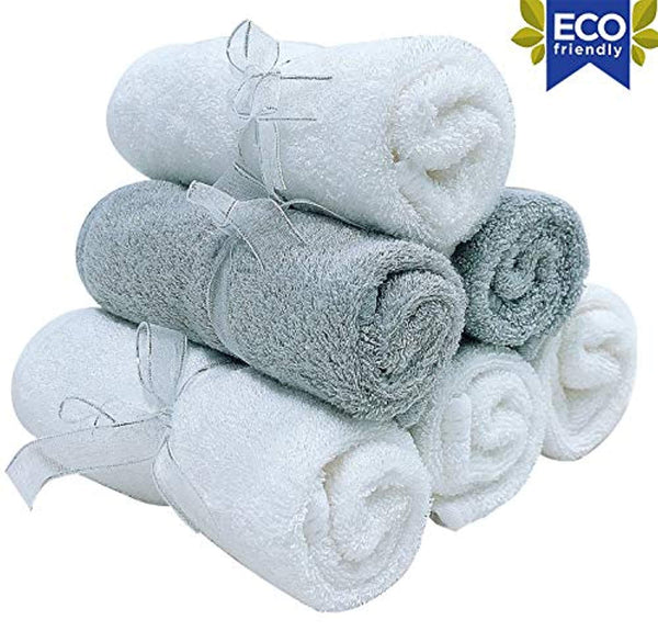 Organic Baby Washcloths - Premium Bamboo Wash Cloth Set of 6 - Ultra Soft Kids Infant WashCloths for Face and Body - Neutral Newborn Washcloth Pack - Eco Trade Company