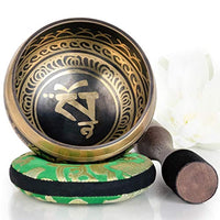 Silent Mind Tibetan Singing Bowl Set, Balance & Harmony Design With Dual Surface Mallet and Silk Cushion, Promotes Peace, Healing, Mindfulness- Bronze - Eco Trade Company