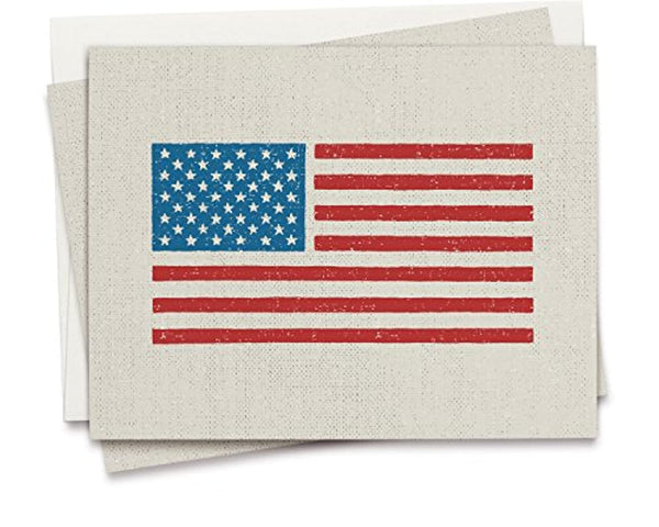 Twigs Paper - American Flag Note Cards - Set of 12 Blank Patriotic Cards 5.5 x 4.25 Inch with 12 Envelopes - 100% EcoFriendly Stationery - Made in USA - Eco Trade Company