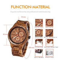 Holiday Gift Wood Watches for Men Analog Quartz Handcraft Lightweight - Eco Trade Company