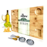 "Bamboo Cheese Board Set & Food Serving Tray - BONUS Stainless Steel KNIVES & BOWLS, Extra LARGE 16x11x1"" - Eco Trade Company"
