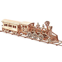 Wood Trick Wooden Toy Train Set with Railway - 34x7″ - Locomotive Train Toy Mechanical Model Kit - 3D Wooden Puzzle - Eco Trade Company