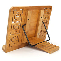 Bamboo Book Stand - Desk Bookrest with Retro Hollow Elegant Pattern - Eco Trade Company