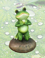 Blessed Assurance - Inspirational Cute Praying Frog On Rock Statue - Eco Trade Company