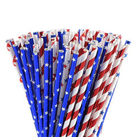 American Flag Red Blue White Paper Straws, 100 Biodegradable Straws for Memorial Day, 4th of July, Super Bowl, Patriotic Party, Americana Themed Party - Eco Trade Company