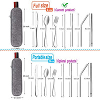 Reusable Travel Utensils Silverware with Case,Travel Camping Cutlery set, Stainless Steel 8 Piece/Set