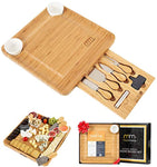 Cheese Board and Cutlery Set (Top Quality Elegant Packaging) Unique Bamboo Charcuterie Platter and Serving Tray for Wine, Cracker, Brie and Meat - Eco Trade Company