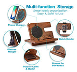 Wood Phone Docking Station Ash Key Holder Wallet Stand Watch Organizer Wireless Charging Pad Compatible with All Qi Devices - Eco Trade Company