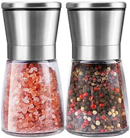 Salt and Pepper Grinder Set, Refillable with Adjustable Ceramic Grinder, Glass body Salt and Pepper Shaker with Stainless Steel Lid, Set of 2 - Eco Trade Company