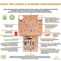 16-piece Cheese Charcuterie Board and Knife Cutlery Set - Organic Bamboo Cutting and Serving Tray - Eco Trade Company