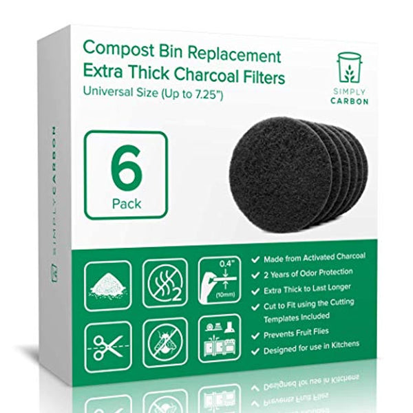 "Simply Carbon Extra Thick Filters for Kitchen Compost Bins - Fits All Compost Bins up to 7.25"" Filter Size - Set of 6 - Eco Trade Company"