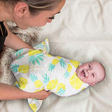 "Muslin Swaddle Blanket Large 47""x47"" Pineapple Print - Super Soft Breathable Bamboo Cotton for Newborn - Eco Trade Company"