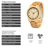 Men's Bamboo Wooden Watch Numeral Scale Large Face Quartz Watch Lightweight - Eco Trade Company