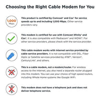 Cable Modem, 6 Gbps Max Speed. Approved for Comcast Xfinity Gigabit, Cox Gigablast, and More, Black - Eco Trade Company