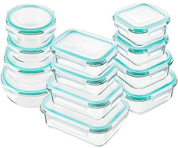 Glass Food Storage Containers with Lids, 24 Pcs Glass Meal Prep Containers, Airtight Glass Bento Boxes, BPA-Free & FDA Approved & Leak Proof - Eco Trade Company