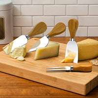 4 Pieces Set Cheese Knives with Bamboo Wood Handle Steel Stainless Cheese Slicer Cheese Cutter (Original Bamboo Handle) - Eco Trade Company