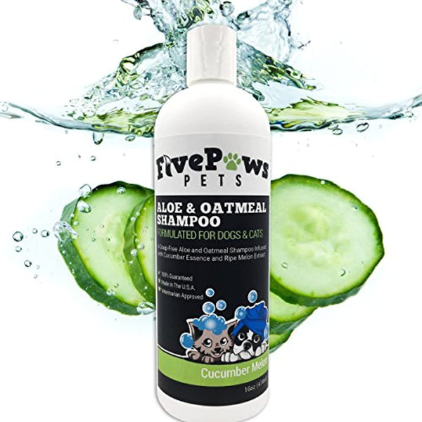 Soap Free Aloe and Oatmeal Hypoallergenic Pet Shampoo, Relieves Dry Flaky Itchy Skin, Natural Cucumber and Melon Scent, 16 oz Made in USA - Eco Trade Company