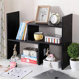 Wood Adjustable Desktop Storage Organizer Display Shelf Rack, Office Supplies Desk Organizer,Black - Eco Trade Company