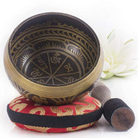Tibetan Singing Bowl Set ~ Antique Design ~ With Dual Surface Mallet and Silk Cushion ~ Promotes Peace, Chakra Healing, and Mindfulness - Eco Trade Company