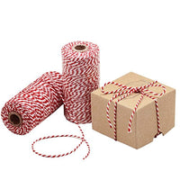 Cotton Bakers Twine Red & White 100M-328 Feet, Packing String,Decoration, Tying Cake, Boxes, DIY Crafts & Gift Wrapping - Eco Trade Company