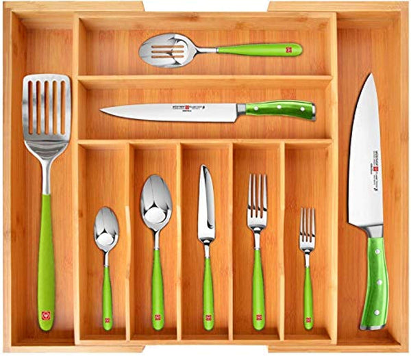 Bamboo Kitchen Drawer Organizer - Utensil Holder and Cutlery Tray with Grooved Drawer Dividers for Flatware and Kitchen Utensils - Eco Trade Company