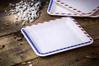 "9.5"" inches American Flag Contemporary Disposable Square Plate - Made From Natural Plant Fibers Compostable Eco Friendly - Eco Trade Company"