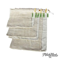Reusable Produce Bags for Grocery Shopping - (7) Zero Waste Washable Cotton Bulk Food & Mesh Produce Bags w/Drawstring - Eco Trade Company