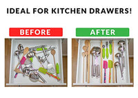 Drawer Dividers Bamboo Kitchen Organizers Set of 6 - Spring Loaded Drawer Divider Adjustable & Expandable Drawer Organizer - Best for Kitchen - Eco Trade Company