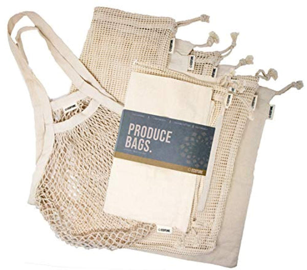 Ecoture Eco Friendly Reusable Produce Bags in Mesh and Muslin for Fruit and Vegetable - Eco Trade Company